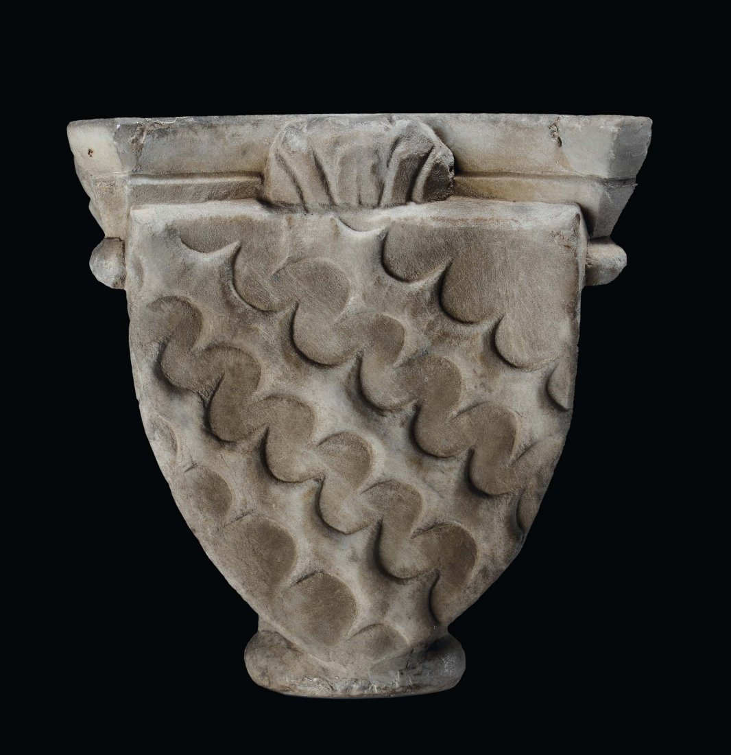 """French or Italy, 14th /15th century """"Capital with"""