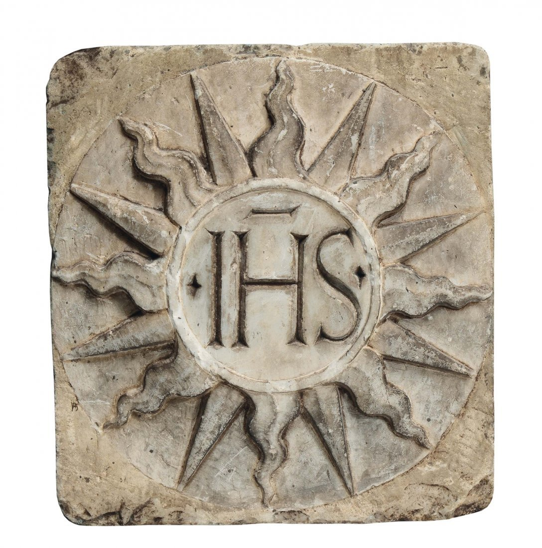 """Tuscan Art, 15th century """"High relief with IHS"""""""