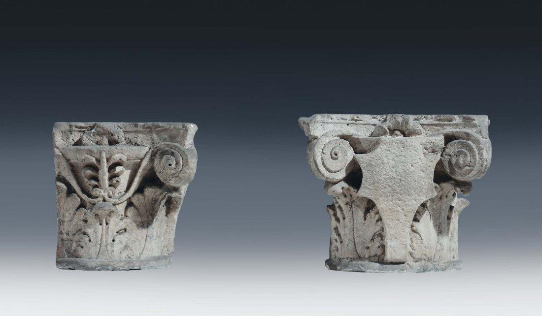 """Italian Art, 15th /16th century """"Pair semi-capitals"""""""