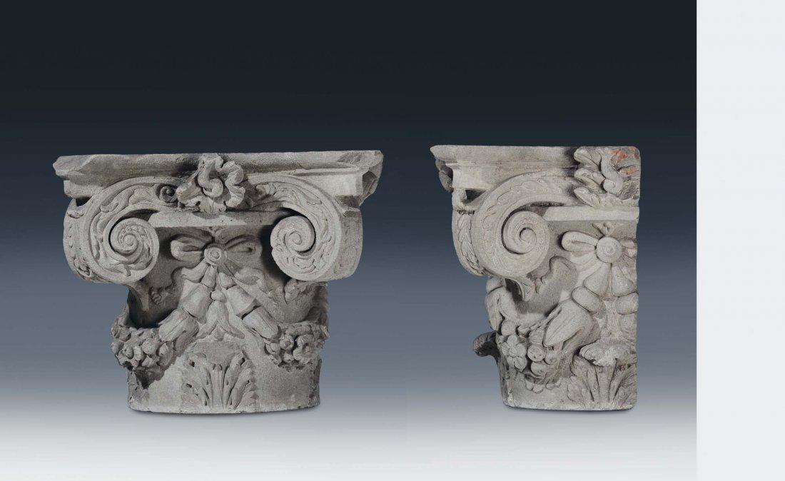 "Tuscan art, 15th /16th century ""Pair of  semi-capitals"""