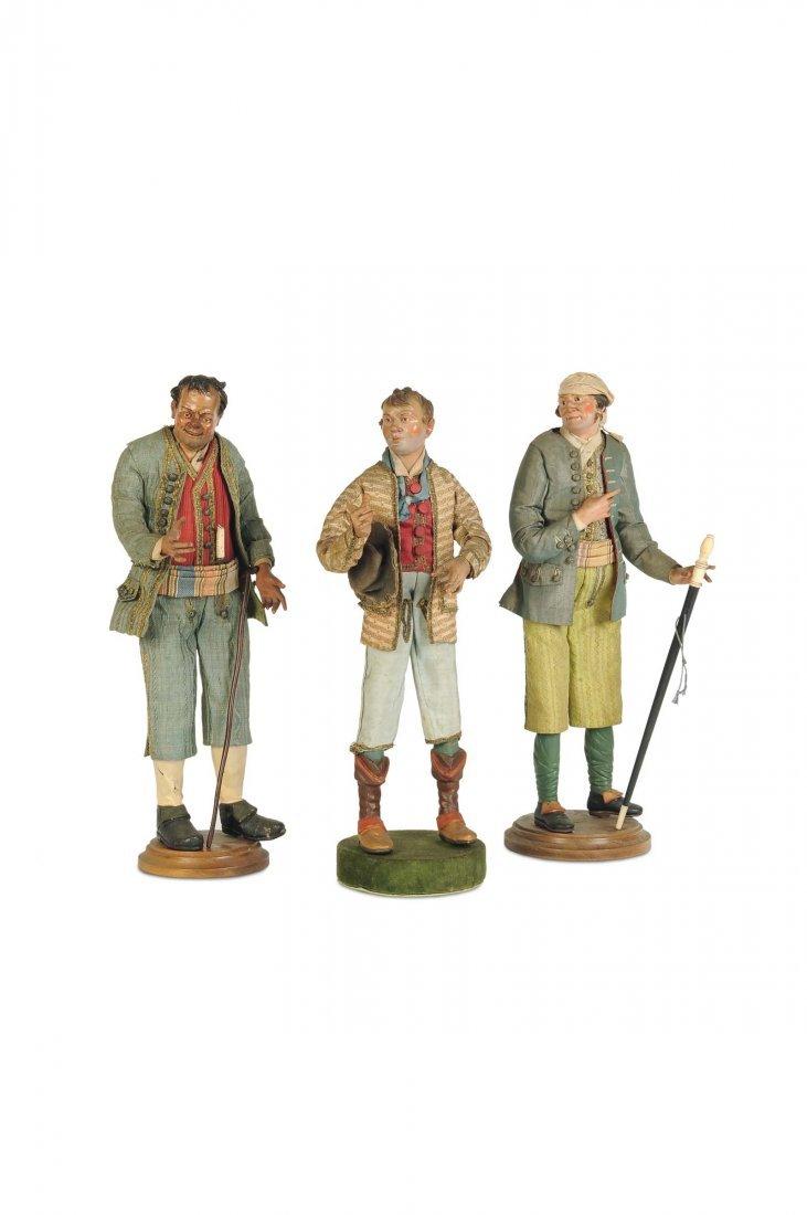 Tre contadini in abiti da festa, Napoli, XIX secolo