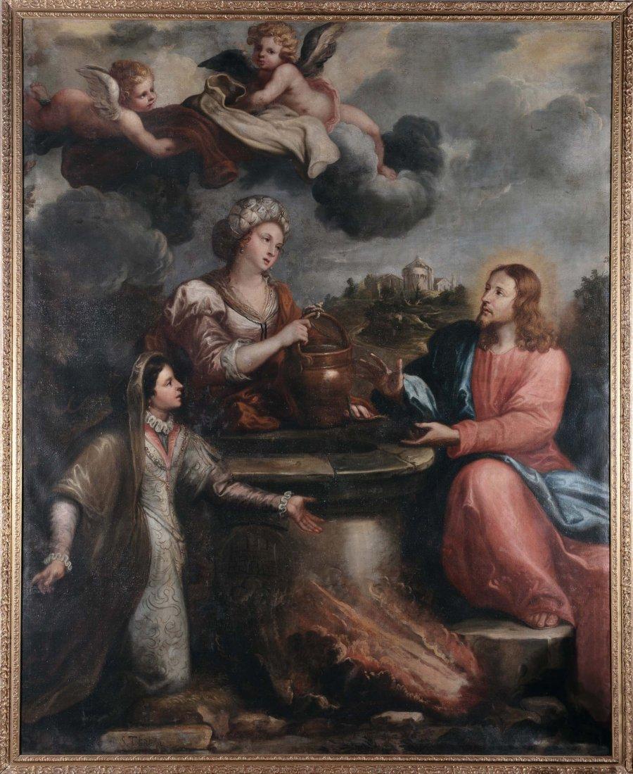 """Scuola Italiana del XVIII secolo """"Sammaritana al pozzo"""""""