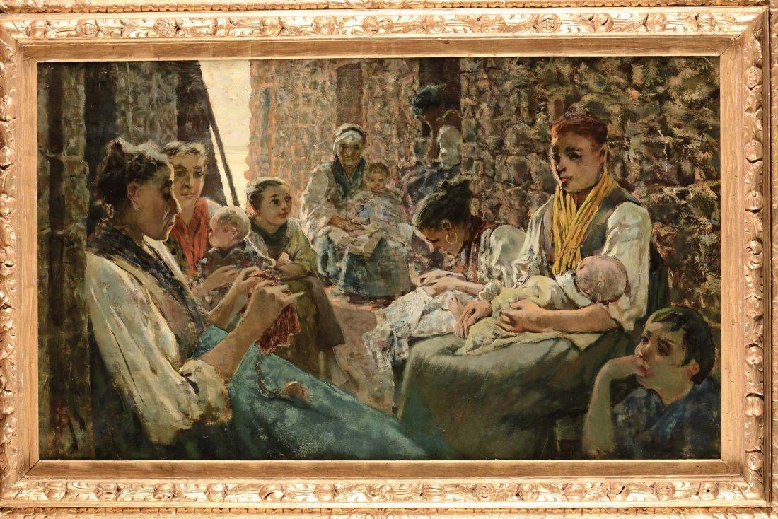 """Telemaco Signorini (Firenze 1835-1901) """"Chiacchiericci"""