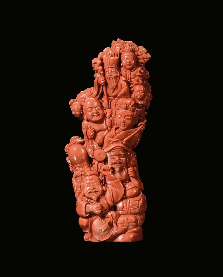 """A coral """"figures†group, China, early 20th century"""