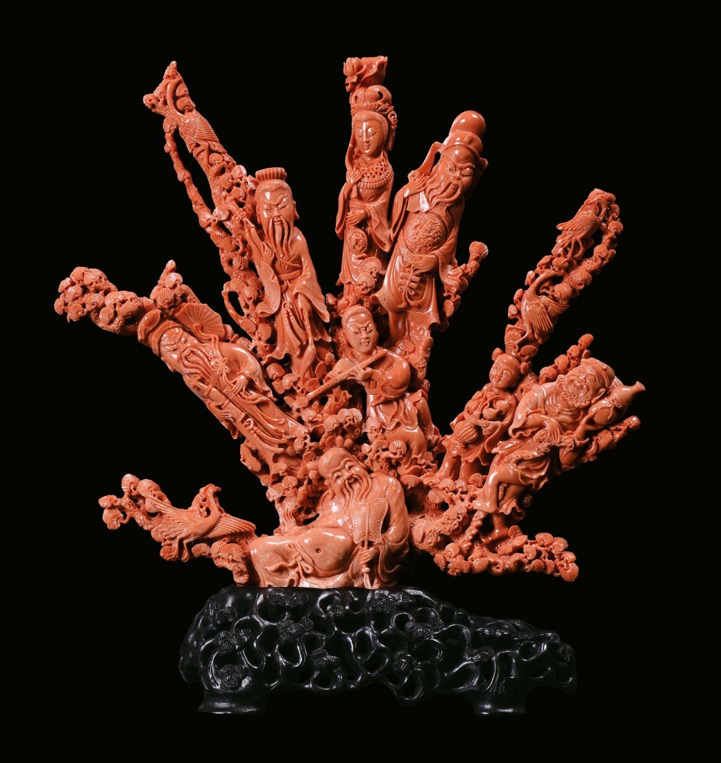 """A large coral """"characters†group, China, Qing"""