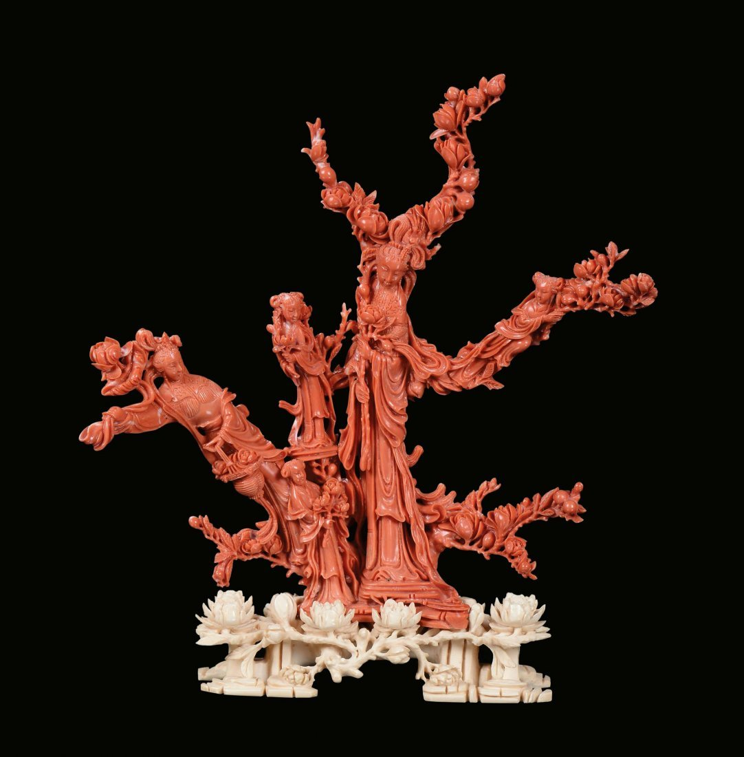 """A red coral """"Guanyin and boys†group, China, Qing"""
