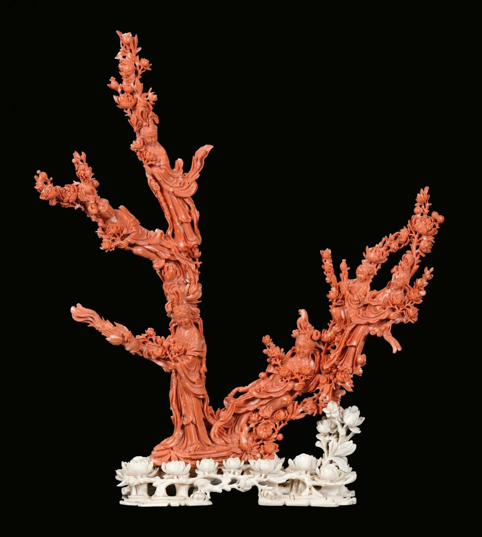 """A red coral """"Guanyin and flowers†group, China,"""
