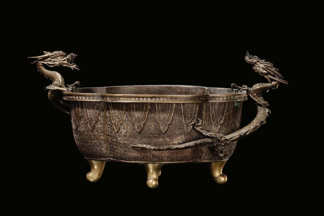 """A bronze cachepot with """"dragon†handles, China,"""