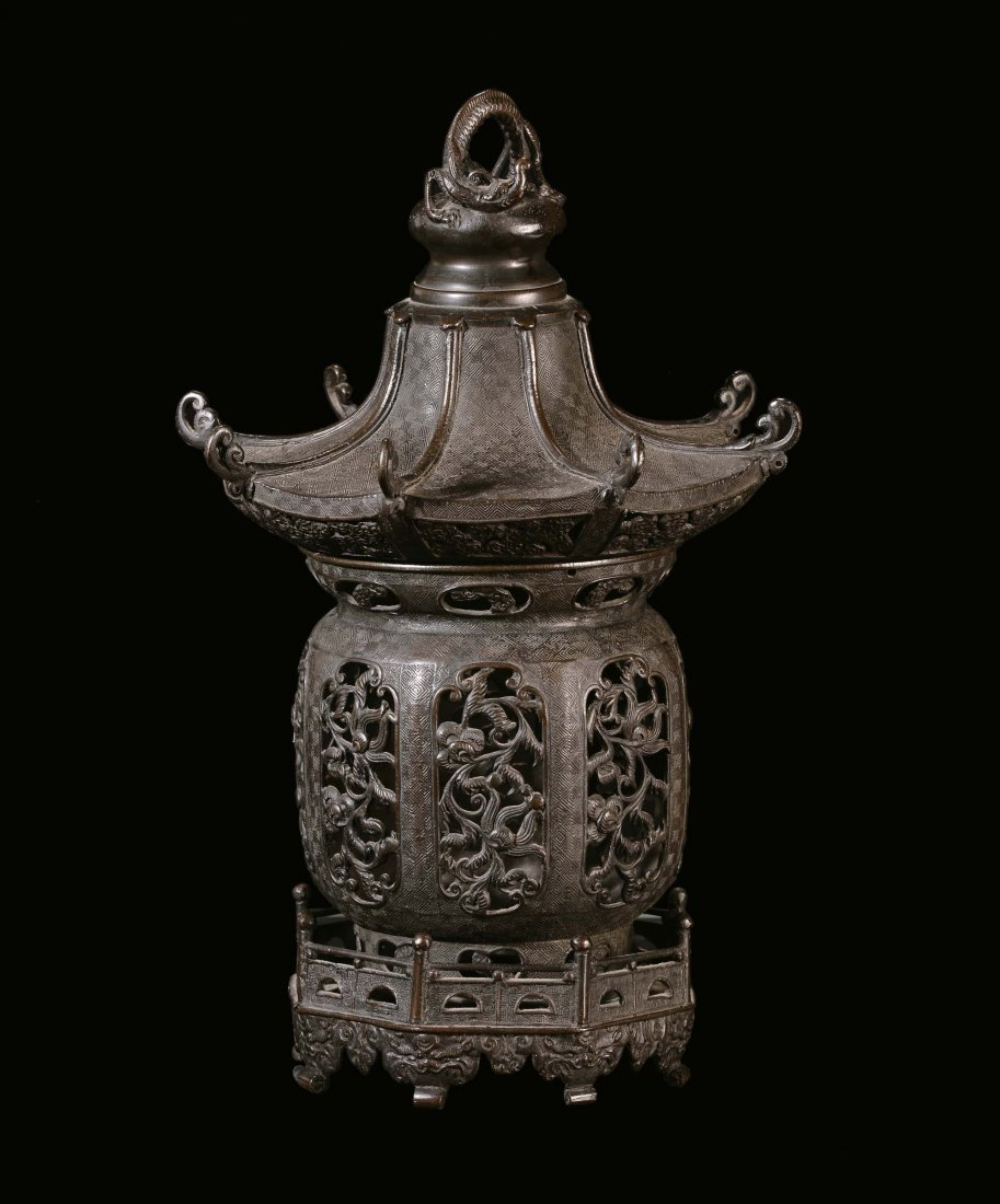 """A bronze """"Pagoda†incense burner, China, Ming"""