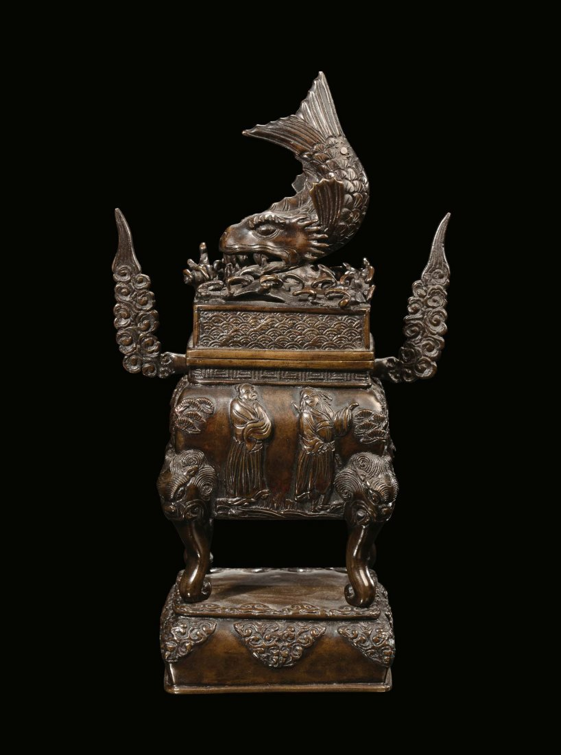 """A bronze censer with """"sea-animal†handle, China,"""