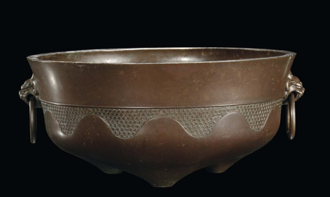 A large bronze brazier with masks, China, Qing Dynasty,