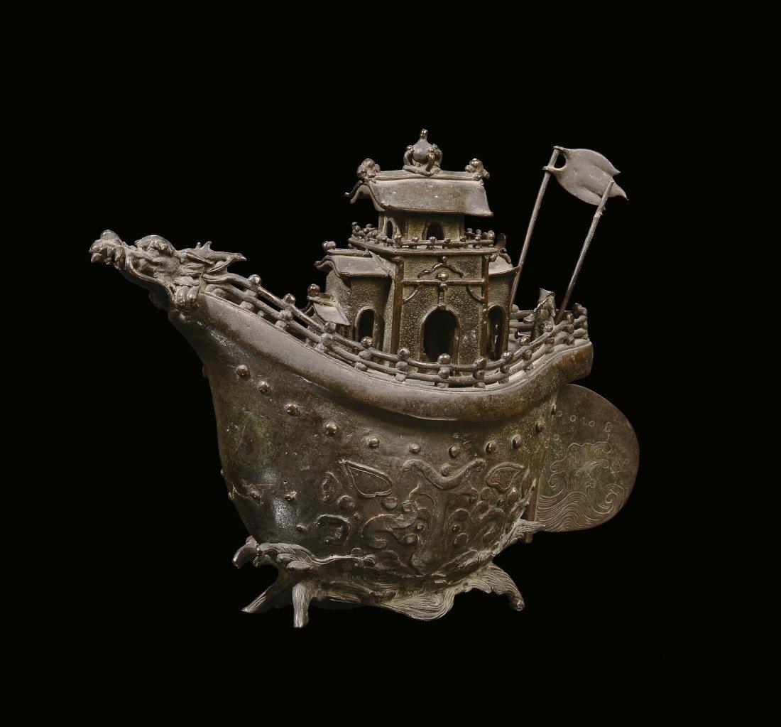 "A rare bronze ""boat†censer, China, Ming Dynasty,"