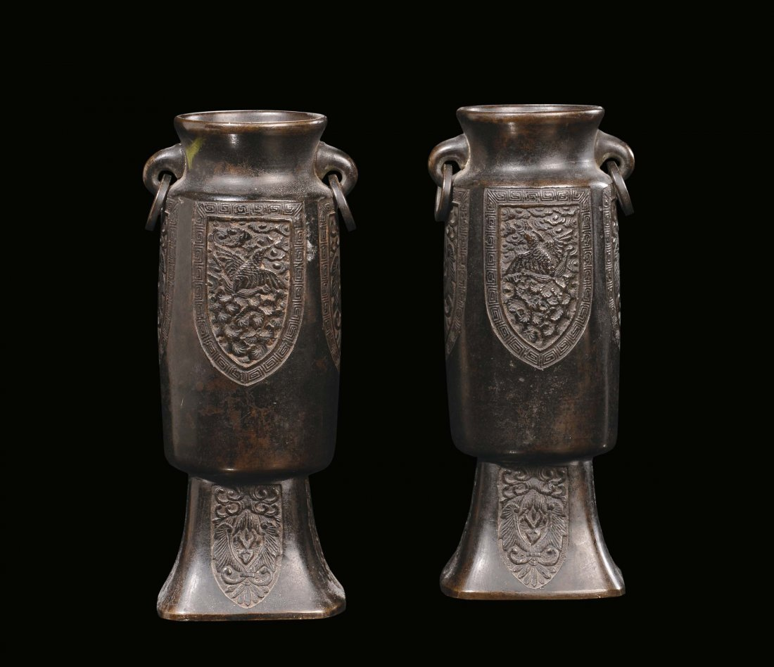 A pair of bronze cylindrical carved vases, China, Qing