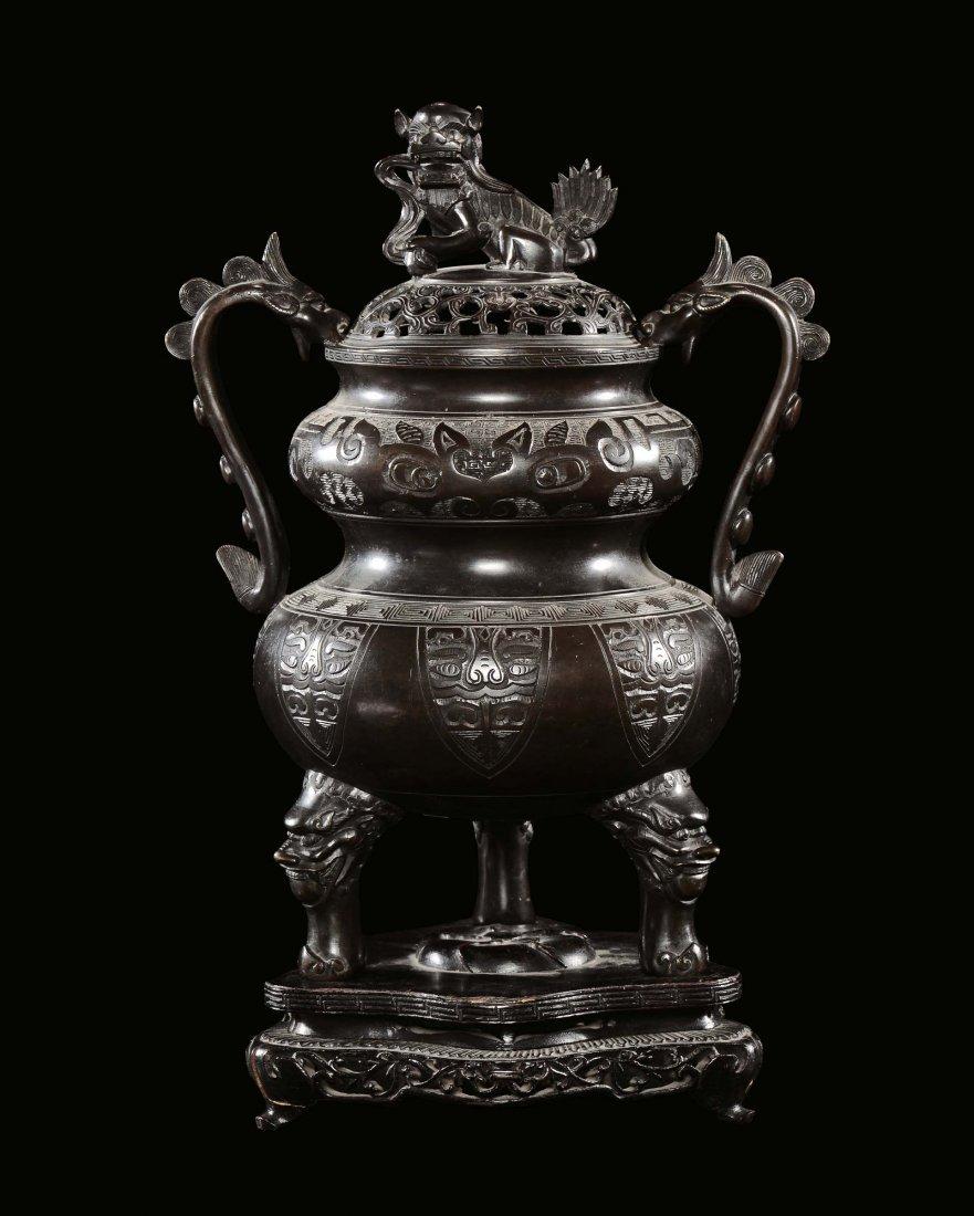 A bronze censer, China, Qing Dynasty, Qianlong