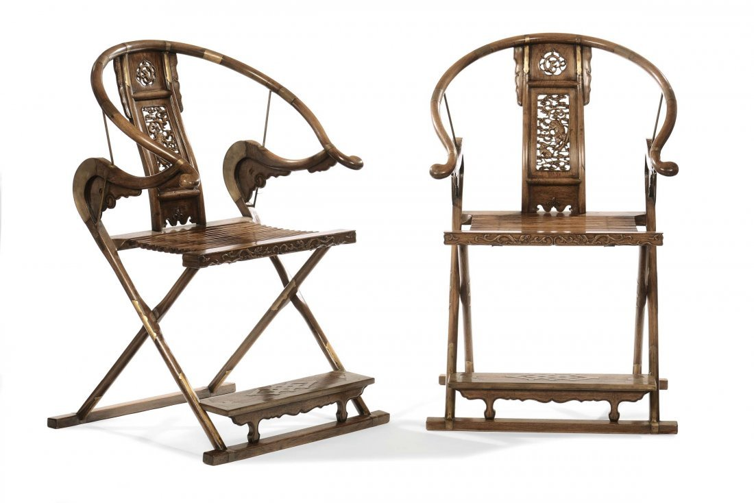 A pair of Huangali armchairs, China, Qing Dynasty, 19th