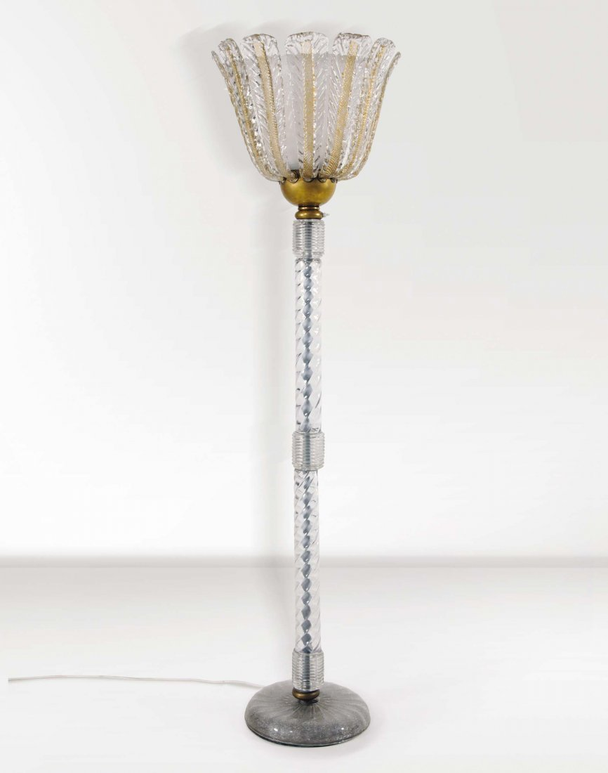 Ercole Barovier. Lampada da terra in vetro di Murano.