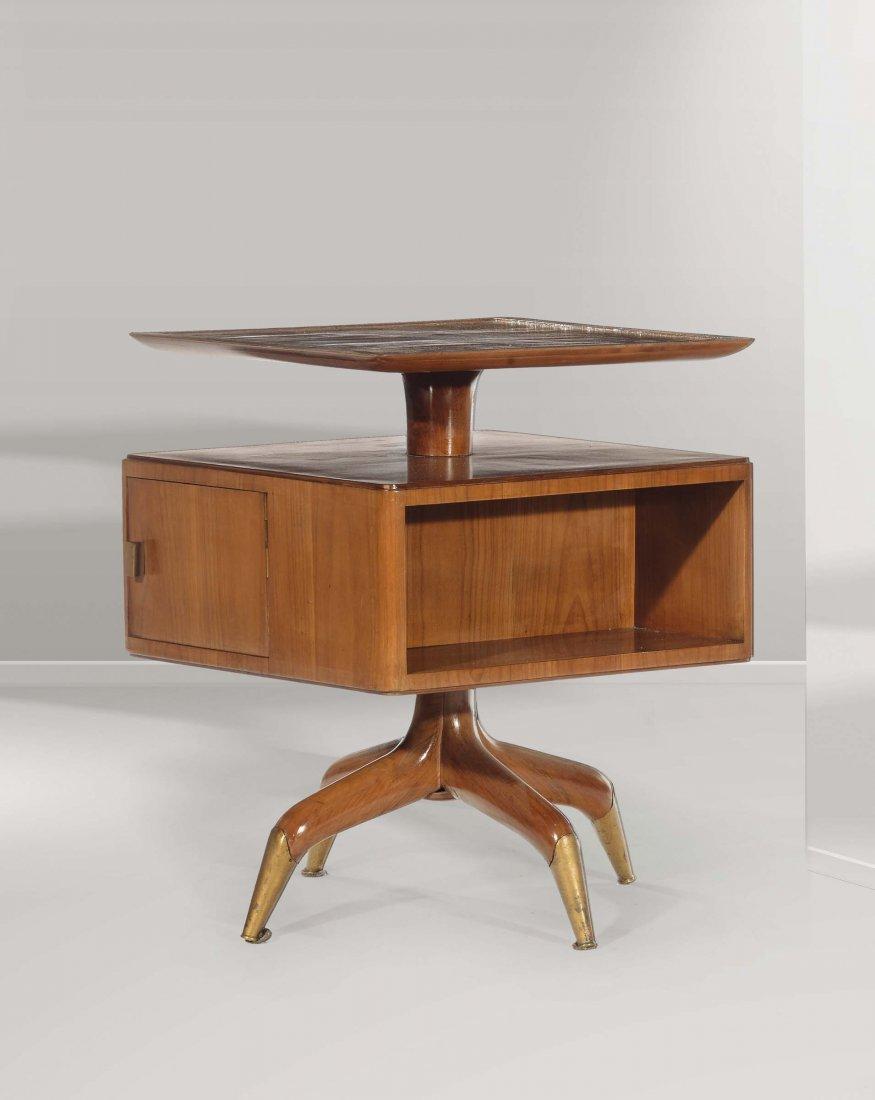 Gio Ponti Importante tavolino girevole in legno d'