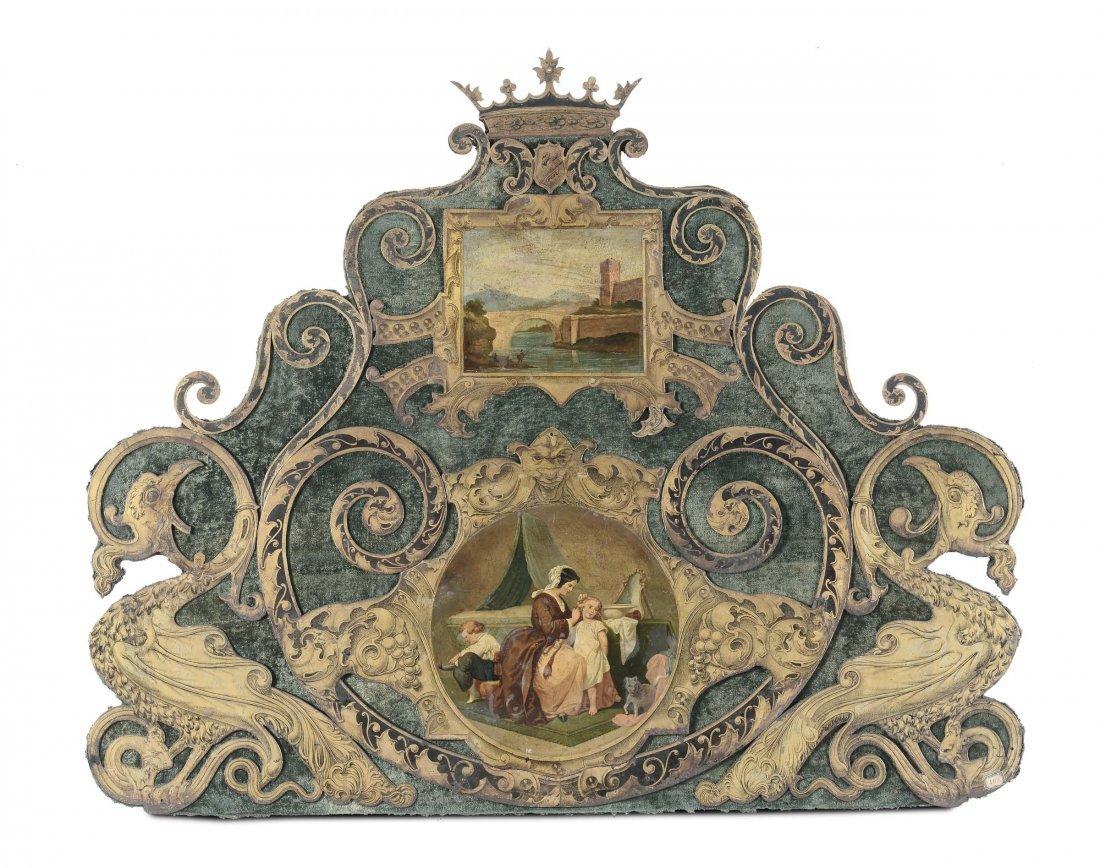 Testata di letto in ferro battuto dipinto e dorato,