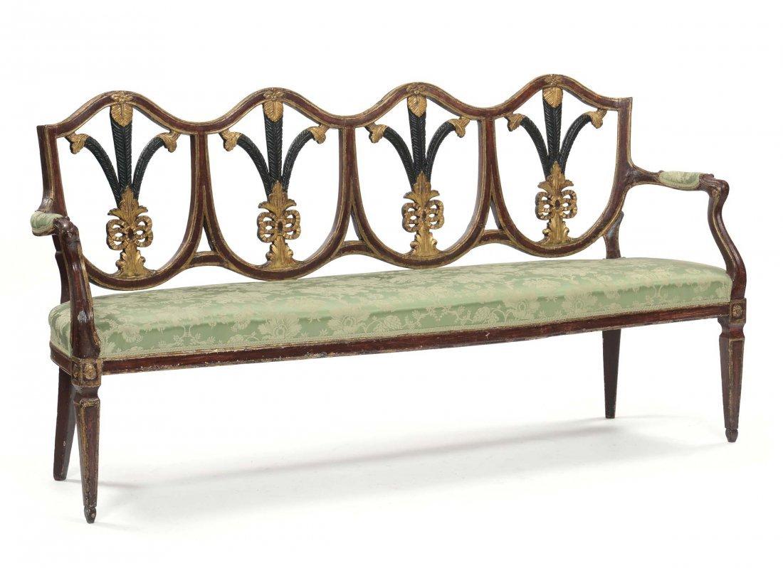 Divano e cinque sedie in legno intagliato in parte