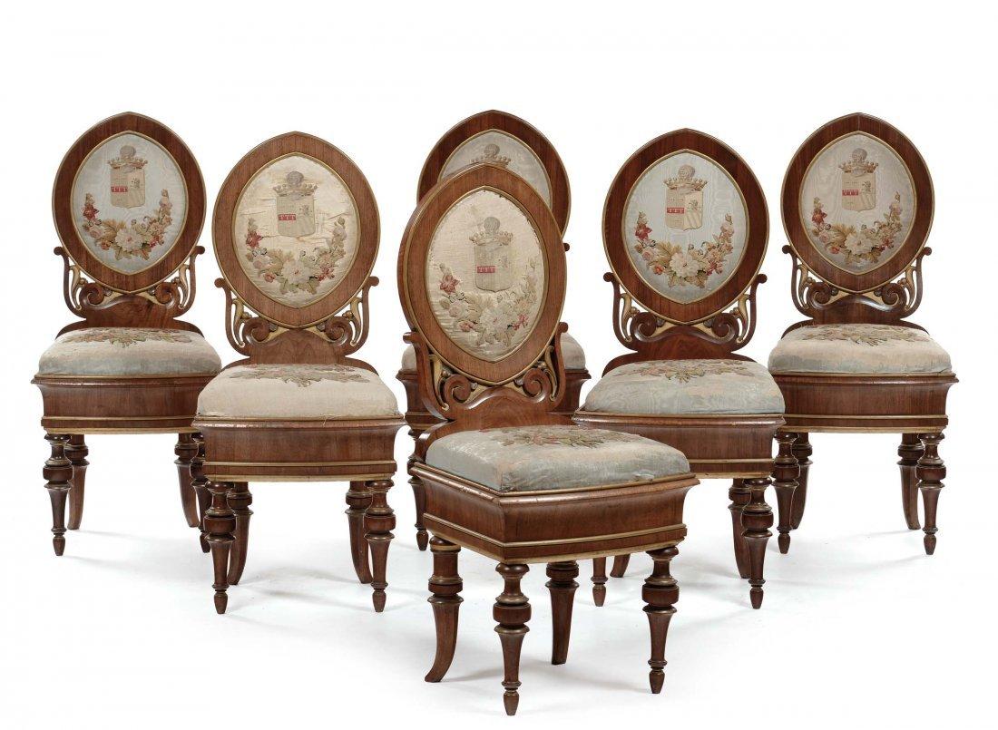 Sei sedie in noce con gambe tornite, Vienna inizio XIX