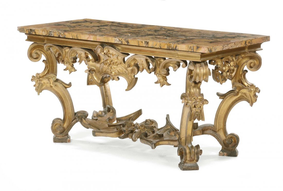 Grande consolle in legno intagliato e dorato, Roma