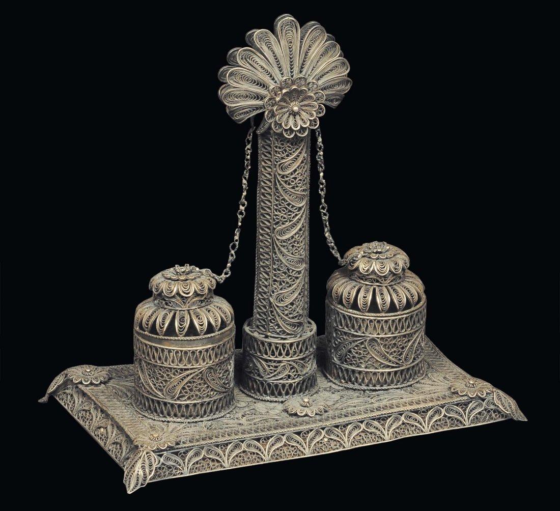 Calamaio in filigrana d'argento, Manifattura italiana