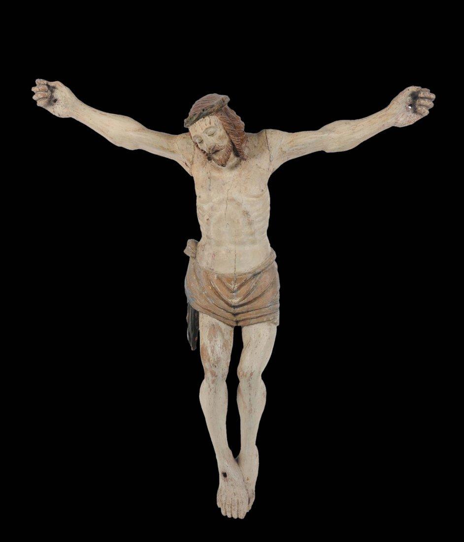 Cristo in legno intagliato e dipinto, Italia centrale