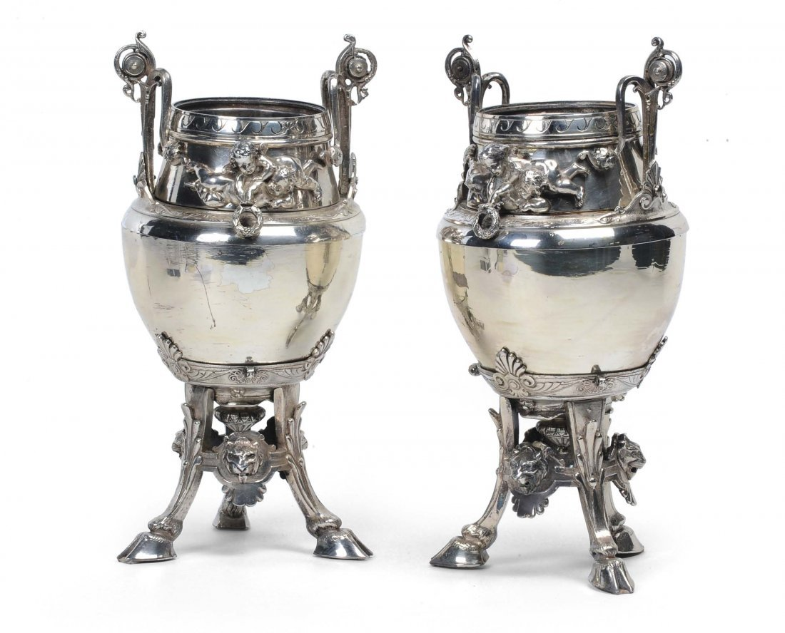 Coppia di vasi in sheffield, XIX secolo