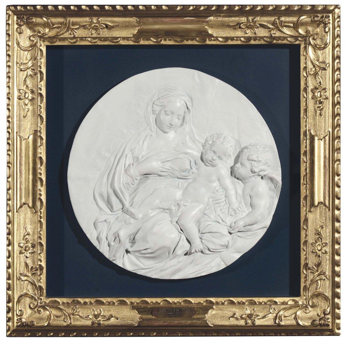 Bassorilievo circolare in gesso raffigurante Madonna