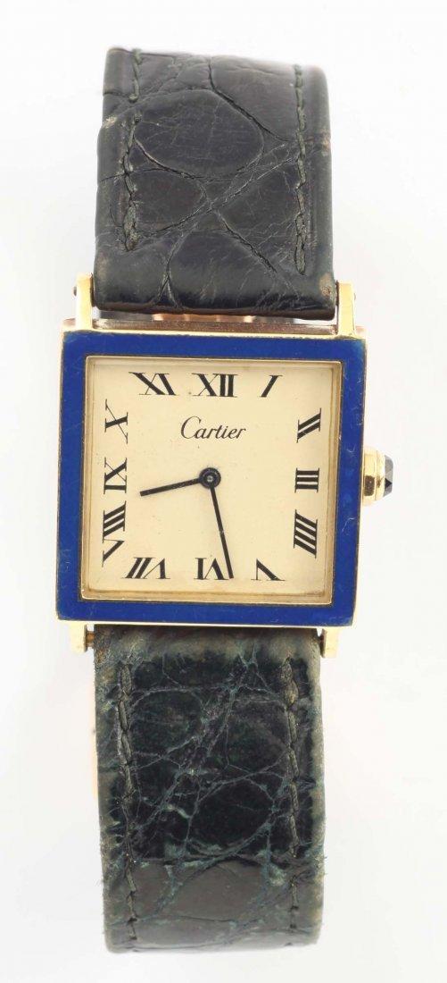 Cartier, orologio da polso per signora in oro giallo e