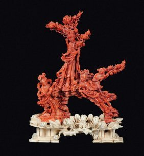 "A red coral ""Guanyin and boys"" group, China, Qing"