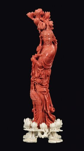A Red Coral Guanyin Figure, China, Qing Dynasty, Late