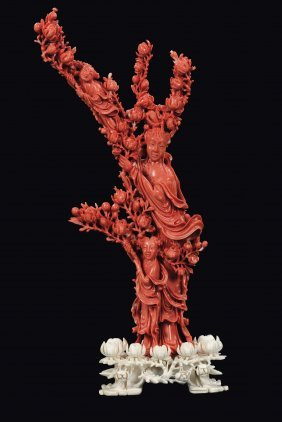 A red coral figure of Guanyin with boys, China, Qing