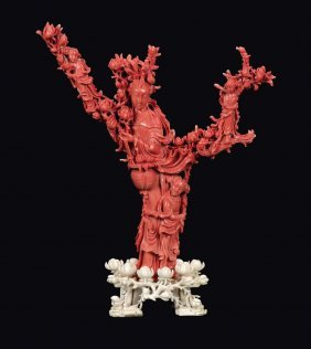 "A coral ""Guanyin and boys on a branch"" group, China,"