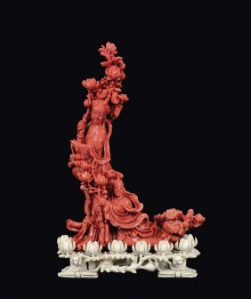 "A coral ""two Guanyin"" group, China, Qing Dynasty, late"