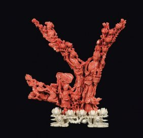 "A coral ""Guanyin and boys"" group, China, Qing Dynasty,"
