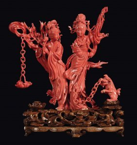 "A coral ""two Guanyin and small dog"" group, China, Qing"