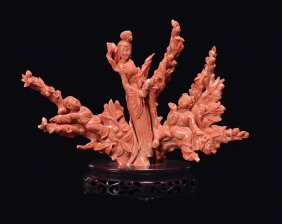 A red coral Guanyin and boys, China, Qing Dynasty, late