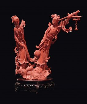 A Coral �two Guanyin� Group, China, Qing Dynasty, Late