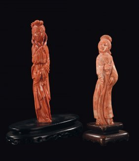 Two coral figures of Guanyin, China, early 20th century