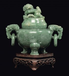 An emerald green jadeite incense burner and cover,