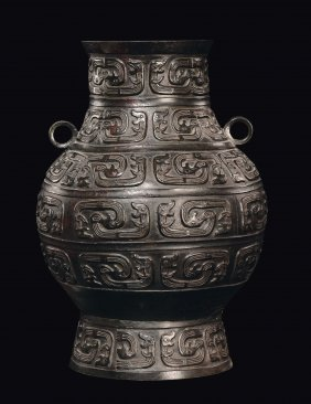 A large bronze vase, archaic shape and design, China,