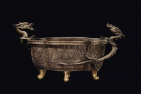 "A bronze cachepot with ""dragon"" handles, China, Qing"