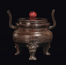 A Bronze Two-handled Censer With Cover And Archaic