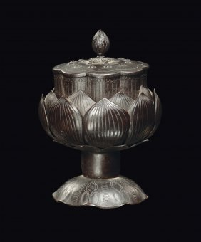 A bronze censer in the shape of lotus flower, China,