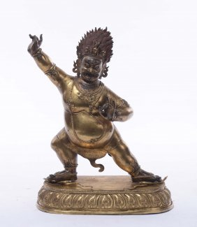 A large and important gilt bronze and copper Vajrapani,