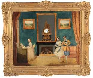 Orologio a quadro dipinto ad olio su tela, Francia o