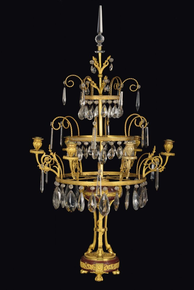 A pair of six-light girandoles, Louis XVI style,