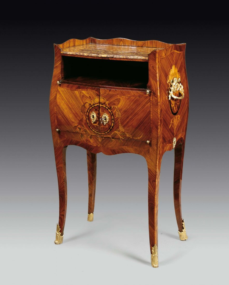A Louis XV night table violet veneered and inlaid with