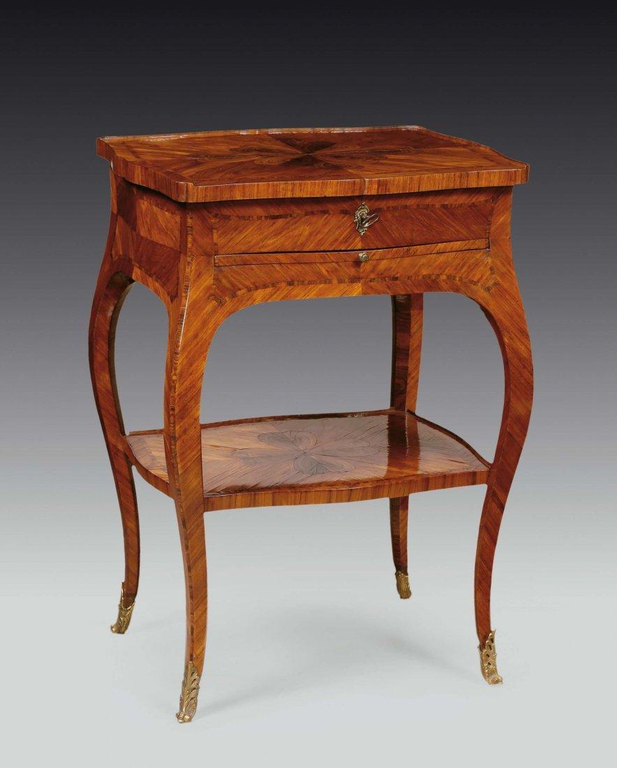 A Louis XV violet veneered work-table, Genoa, late 18th